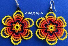 Mexican Huichol Beaded Yellow Flower Earrings AF-0113 by Aramara