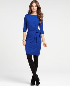 Ann Taylor 3/4 Sleeve Side Tie Knit Dress - love the blue and black contrast
