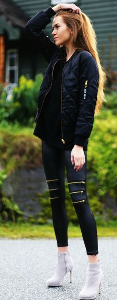 *pants* Kristine Ullebo Black Quilted Bomber Jacket Zip Detail Crop Leggins Fall Inspo