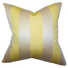 Showcasing wide yellow and gold stripes and a feather-down fill, this eye-catching pillow brings a pop of pattern to your sofa, chaise, or bed. Made in the U...