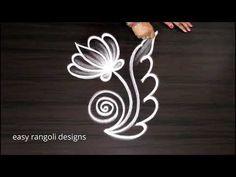 Daily rangoli muggulu for Beginners Rangoli Designs Peacock, Rangoli Side Designs, Rangoli Designs Simple Diwali, Simple Flower Rangoli, Rangoli Designs Latest, Rangoli Ideas, Rangoli Designs With Dots, Beautiful Rangoli Designs, Easy Rangoli