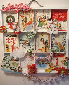 Christmas shadow box - great idea, you could also tun it into an Advent Calendar, hmm! Christmas shadow box - great idea, you could also tun it into an Advent Calendar, hmm! Vintage Christmas Crafts, Retro Christmas Decorations, Christmas Card Crafts, Noel Christmas, Vintage Holiday, Christmas Projects, All Things Christmas, Holiday Crafts, Holiday Fun