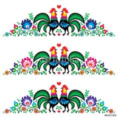 Folk Embroidery Patterns Polish floral folk long embroidery pattern with roosters - wzory lowickie - stock vector Mexican Embroidery, Floral Embroidery Patterns, Folk Embroidery, Learn Embroidery, Machine Embroidery, Embroidery Designs, Rooster Vector, Bordado Popular, Polish Folk Art