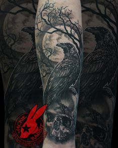 d9133c7d0b88d Raven Crow Perched Sitting Skull Full Moon Tree Branch Creepy Best Spooky  Realistic Black and Grey Portrait Tattoo by Jackie Rabbit