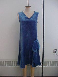 1920s Blue silk velvet dress