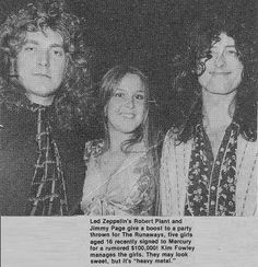 Robert Plant, Lita Ford  & Jimmy Page 1976. Lita is just a wee lass here!! I believe she was in heaven sandwiched between these two!
