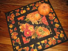 Fall Quilted Table Topper Fall Pumpkins Leaves and by TahoeQuilts