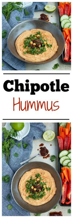 Chipotle hummus is a little bit spicy, ultra creamy and 100% delicious! Its packed with lean protein and fiber making it the perfect healthy snack. - Feasting Not Fasting