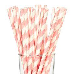 25ct Pink Stripes Paper Straw : Target