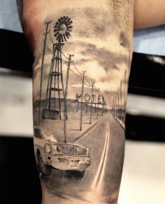 Motel scene tattoo by Miguel Bohigues.....Awesome tat. It's like a slice of life.