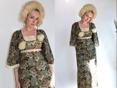 Vintage 1970's Young Innocents Angel Sleeve Maxi Dress in Floral Print Women's Size Medium to Large Retro/Hippie/Boho by thiefislandvintage on Etsy