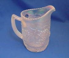"Imperial White Opalescent Carnival Glass Pitcher - Grapes  6"" tall with stickers"