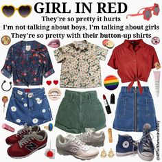 lesbians outfits button up shirts jean skirt jean shorts converse summer Retro Outfits, Grunge Outfits, Vintage Outfits, Cool Outfits, Summer Outfits, Vintage Fashion, Aesthetic Fashion, Aesthetic Clothes, 90s Fashion