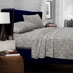 This 300 thread count Egyptian cotton sheet set offers a paisley pattern in rich colors. This deep pocket sheet set is conveniently machine washable and includes oversize flat and deep fitted sheet to accommodate mattresses 12 to 22-inch deep.