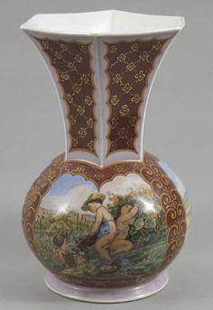Malovaná váza podle J ,Mánese  Čechy, Horní Slavkov, Haas&Cžjžek, po roce 1938.