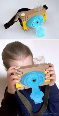 Recycled Cardboard Camera, the laundry detergent lid worked out so well for the . - - Recycled Cardboard Camera, the laundry detergent lid worked out so well for the … Easy Crafts For Kids, Diy For Kids, Fun Crafts, Boat Crafts, Toddler Crafts, Creative Crafts, Cardboard Camera, Cardboard Crafts, Cardboard Playhouse
