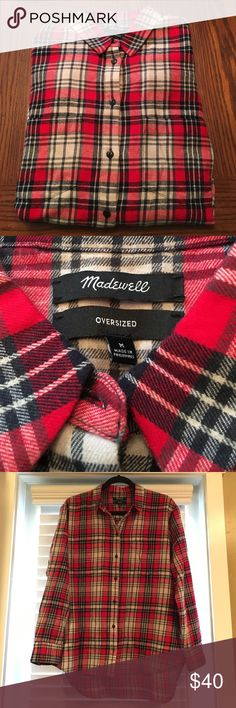 Madewell Ex-Boyfriend Flannel NWOT Brand new without tags. Thought it would fit me since it's my usual size so I cut all the tags off without trying it on. Slightly oversized - more so than the regular bf flannels from Madewell. Color: Kilt Red Madewell Tops Button Down Shirts