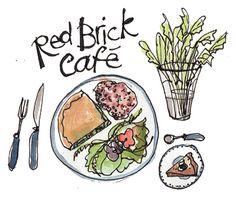 Bridport Local Food Map / Red Brick Cafe / St Michaels Bridport / food illustration / Dorset CLS / Delphine Jones / www.delphinejones.com