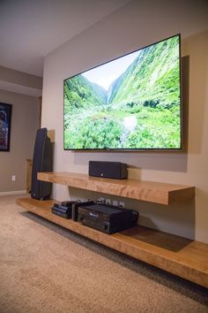 Living room entertainment wall units beautiful 20 best diy entertainment center design ideas for living room Floating Shelves Entertainment Center, Entertainment Wall Units, Floating Shelves Diy, Floating Wall, Living Room Tv, Apartment Living, Tv On Wall Ideas Living Room, Living Spaces, Small Spaces