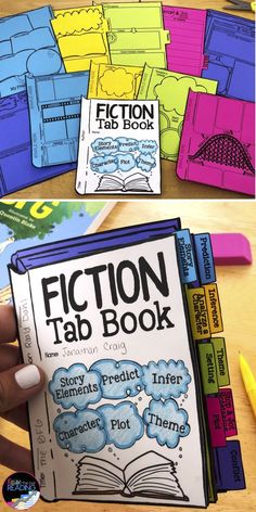 This fiction tab book is perfect for students when reading any fiction book! Reading Strategies, Reading Resources, Reading Activities, Reading Skills, Teaching Reading, Reading Comprehension, Comprehension Strategies, Reading Response, Learning