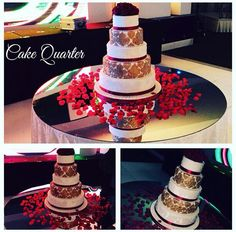 Romantic red and gold wedding cake.   Designed by Cake Quarter  Wedding cakes • Birthday Cakes.  www.cakequarter.co.uk 01215071645
