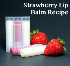 This homemade strawberry lip balm recipe is quick and easy to make, smells delectable and even adds a touch of pink to your lips!