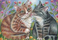 Orange & Gray Tabby Cats - Valentine Painting