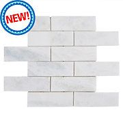 New! Sahara Carrara Brick Marble Mosaic