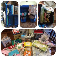 "I made this Baby Emergency Car Kit for a friends baby shower. Her husband is a big time prepper and I thought they would appreciate a ""baby bugout bag,"" or at least have a good chuckle. I filled it with all kinds of helpful items one might need if they were to run out quick and not be prepared. The only thing that needs to be swapped out regularly is the diaper sizes, emergency back up outfits and a fresh bottle of water. #MeepsGifting"