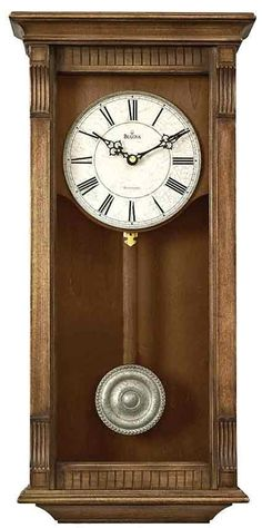 <p> Add a rustic touch to your home with this chiming wall clock in a weathered natural oak finish. An all metal antique crackle-finish dial displays Roman numerals and a minute track. Filigree hands add an antique look to the dial and an antique pewter-finish bezel ring also surrounds the dial. Swinging pendulum with a finished wooden stick and antique pewter-finish d...