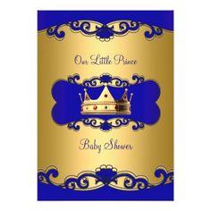 Shop Prince Boy Baby Shower Blue Gold Crown Invitation created by Zizzago. Baby Checklist, Gold Crown, Baby Boy Shower, Blue Gold, Baby Shower Invitations, White Envelopes, Invitation Cards, Rsvp, Shower Ideas
