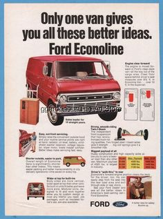 1970 Ford Econoline Van Vintage Photo Print Ad