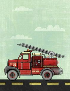 Fire Truck Police Car Rescue Helicopter  3 Pack Art by Opafaf