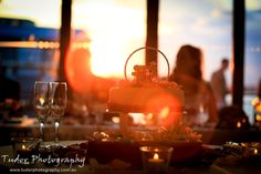sunset wedding shot with filtered light