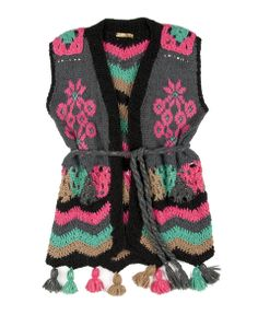 knit & crochet vest Crochet Vests, Crochet Coat, Crochet Cardigan, Cute Crochet, Beautiful Crochet, Crochet Clothes, Gilet Kimono, Crochet World, Crochet Fashion