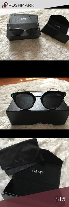 Black GAMT Vintage Round Sunglasses Brand new, never used. Comes with box, sunglass case, cleaning cloth. Stylish and great for everyday use! Accessories Sunglasses