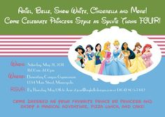 A princess party invite featuring the Disney princesses