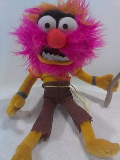 The Muppets Animal the Drummer Stuffed Plush Soft Doll Pink Hair & Drum Sticks   #Unknownnoseamtag