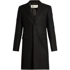 Saint Laurent Single-breasted wool overcoat (208.815 RUB) ❤ liked on Polyvore featuring men's fashion, men's clothing, men's outerwear, men's coats, black and yves saint laurent