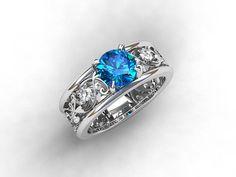 Wide filigree engagement ring with Swiss blue topaz and diamonds filigree by TorkkeliJewellery