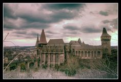 Medieval Corvin Castle overlooking the town of Hunedoara in south-western Transilvania