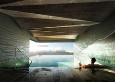 Mountain Lodge on Sognefjorden by Haptic - Dezeen. A swimming pool, spa, cinema and games room will be hidden in the rock beneath the main cluster of buildings at this Norwegian hunting lodge and hotel by London architects Haptic. Rendering Interior, Interior Exterior, Interior Architecture, Water Architecture, Beautiful Architecture, Interior Design, Spa Design, House Design, Hotel Berg