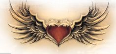 Winged Heart Tattoo Design with a locket in the middle. - Winged Heart Tattoo Design with a locket in the middle. Trendy Tattoos, Small Tattoos, Tattoos For Women, Tattoos For Guys, Family Tattoos, Couple Tattoos, Wolf Tattoos, Forearm Tattoos, Body Art Tattoos