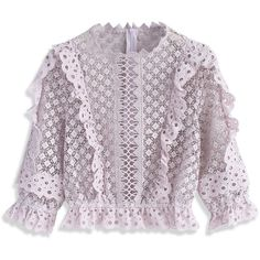 Chicwish Crochet Cropped Top in Lilac (€31) ❤ liked on Polyvore featuring tops, jackets, shirts, pants, purple, frill crop top, shirt crop top, lilac crop top, flutter-sleeve top and crochet top