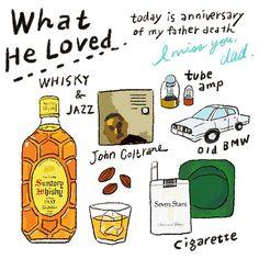 Today is anniversary of my father death.. I miss you, dad. This is what he loved. 今日はジメジメ暑くて、こんな日は六曜社の地下店ろくよーでハイボールを呑みたい!(ボトルキープしている) と、、そう言えば今日は父の命日でした。一緒に呑みたかったな〜 #illustration #drawing #design #illustrator #illustagram #イラストレーター