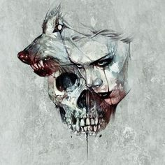 Image result for wolf drawings skull