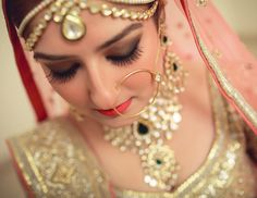 """Flawless makeup and stunning jewellery. Bridal Beauty, Bridal Hair, Bridal Wardrobe, Makeup Gallery, Pink Lehenga, Wedding Makeup Artist, Royal Jewels, Flawless Makeup, Pink Lips"