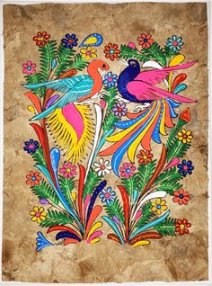 Mexican Amate Bark Painting on Canvas by MISCRoot on Etsy Peruvian Art, Madhubani Painting, Mexican Folk Art, Beautiful World, Painting & Drawing, Art For Kids, Art Projects, Birds, Wall Art