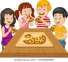 Cartoon kids eating pizza together Royalty Free Vector Image , Pizza Cartoon, Cartoon Boy, Cartoon Images, Free Vector Images, Vector Free, Inference Pictures, Pizza Art, Pizza Pizza, Art Drawings For Kids