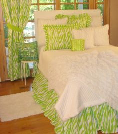Designer Lime green Animal Print Teen Bedding
